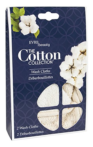 Evriholder The Cotton Collection Dual-Sided Wash Cloths, Deep Exfoliating Wash Cloths, 2pk by Evriholder