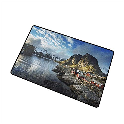 Wang Hai Chuan Island Welcome Door mat Fishing Hut Photo in Autumn with Rocks and Clouds Scenery Northern Norway Cold Door mat is odorless and Durable W29.5 x L39.4 Inch ()