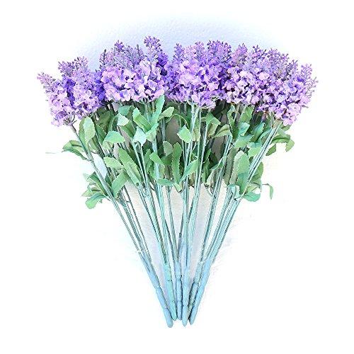 Lavender 1 Bouquet 10 Heads Silk Dark Purple Lavender Artificial Flower Vivid Silk Bouquets Romantic Flowers For Wedding Table Decoration Home Decor Gift Pack Of 6(Purple)
