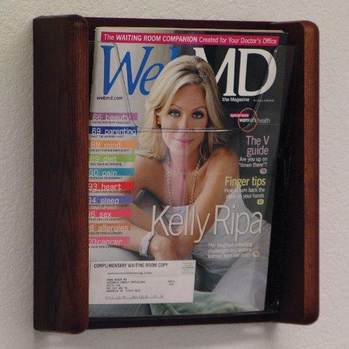 - DMD Magazine and Literature Wall Display Rack, 1 Pocket, Acrylic and Oak, Mahogany Wood Finish