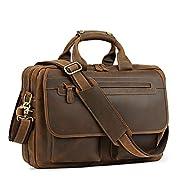 """#LightningDeal Kattee Leather Briefcase 15.6"""" Laptop Bag Messenger Bags for Men"""