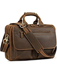 "Men's Leather Durable Briefcase, 16"" Laptop Bag"