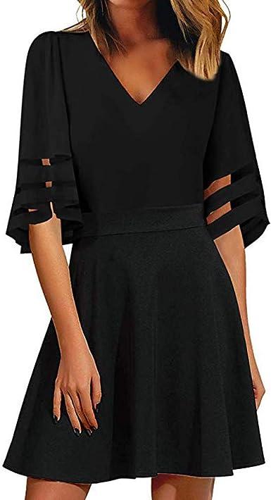 Viahwyt vestido de mujer suelto camisa vestido de verano mini ...