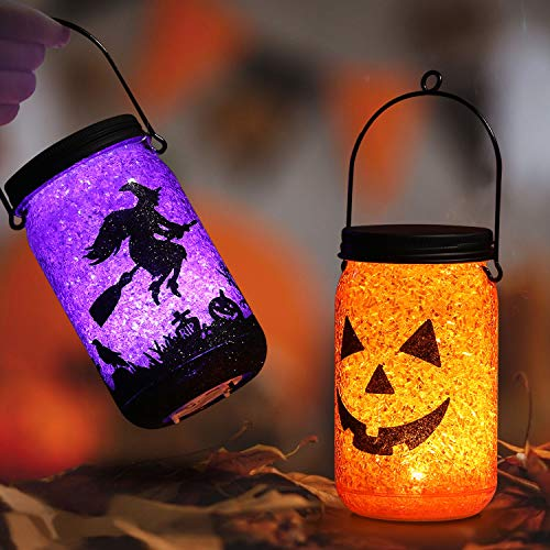 Battery Operated Paper Halloween Lanterns (OUSFOT Halloween Lantern Lights Battery Powered 4.72 inch Jack O and Witch Hanging Halloween Lanterns Decoration 2 Pack Gifts for Kids Indoor/Outdoor)