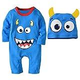 Rawdah 2PCS Halloween Baby Boys Girls Cartoon Print Romper Jumpsuit+Hat Set Outfit