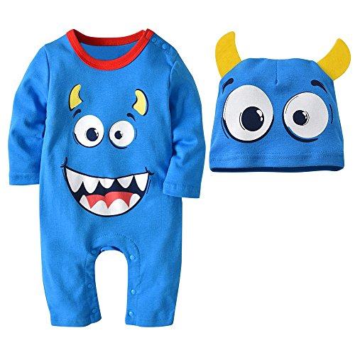 MOKO-PP 2PCS Halloween Baby Boys Girls Cartoon Print Romper Jumpsuit+Hat Set Outfit(Light blue,95) -