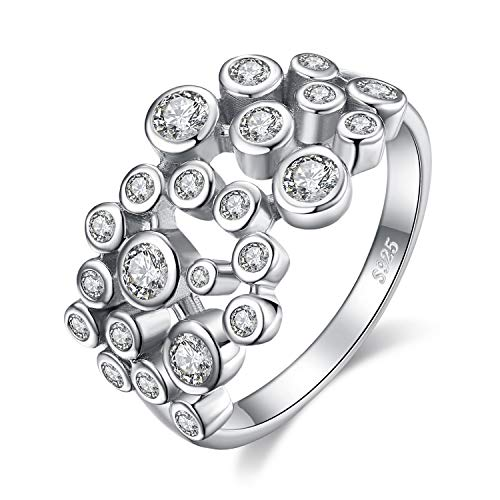 (JewelryPalace Contemporary Scattered Bazel Set Cubic Zirconia Promise Wedding Bubble Ring 925 Sterling Silver size)