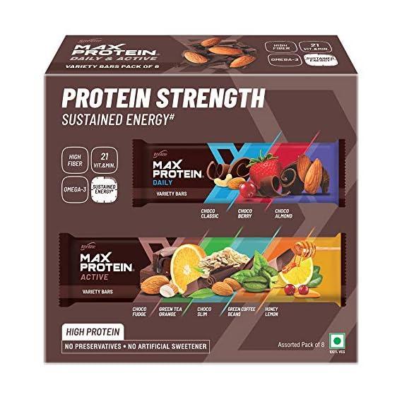 RiteBite Max Protein Assorted Energy Pack (Daily Choco Classic, Choco Berry, Choco Almond and Active Choco Fudge, Honey Lemon, Green Tea Orange, Choco Slim, Green Coffee Beans), Pack of 8