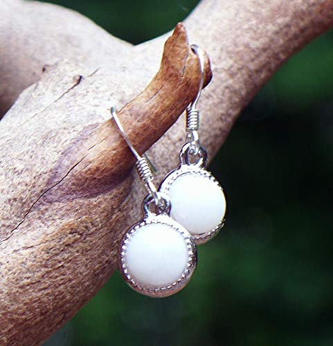 - Recycled Vintage White Cold Cream Jar White Glass Color Dot Earrings
