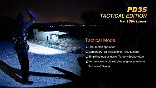 Ultimate Bundle: Fenix PD35TAC (PD35 Tactical) 1000 Lumens Cree XP-L Flashlight, 2x Fenix 3500mAh 18650 Batteries, Smart Charger, LumenTac Battery Organizer by Fenix (Image #3)
