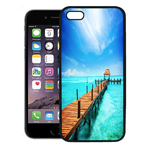 (Semtomn Phone Case for iPhone 8 Plus case,Blue Beach Paradise Vacations and Tourism Tropical Resort Jetty on Isla Mujeres Mexico Cancun Travel iPhone 7 Plus case Cover,Black)