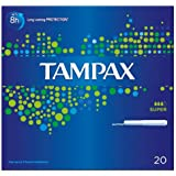 Tampax Cardboard Applicator Super 20 Tampons (Pack of 8 x 20s)