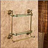 Bathroom Shelves,Antique Bronze Wall Mounted Double Glass Shelf,Bathroom Accessory , Antique Brass