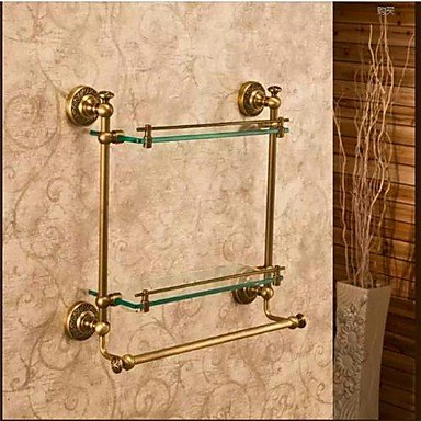 Bathroom Shelves,Antique Bronze Wall Mounted Double Glass Shelf,Bathroom Accessory , Antique Brass by DingFei