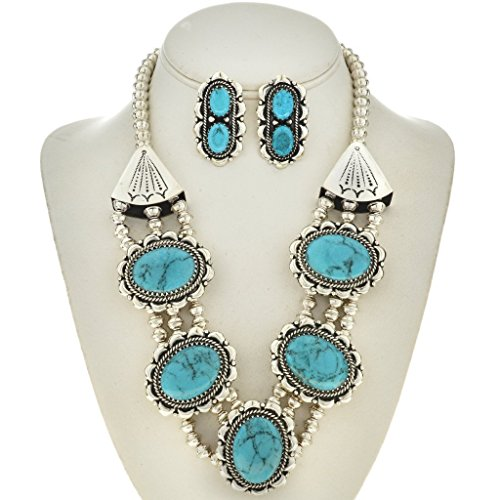 Navajo Turquoise Necklace Set with Earrings Inspired By Ralph Lauren ()