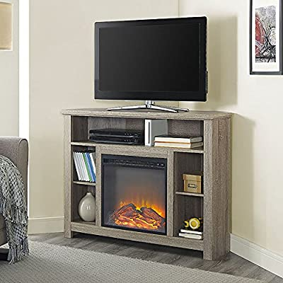 """WE Furniture 44"""" Driftwood Wood Corner Fireplace TV Stand Console for Flat Screen TV's Up to 48"""" Entertainment Center"""