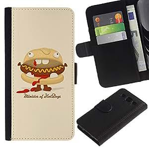 KingStore / Leather Etui en cuir / Samsung Galaxy S3 III I9300 / Hot Dog Sandwich basura Food Art Animación