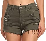 Vibrant Women's Juniors Denim High Waist Cutoff Shorts Olive L