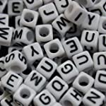 300 Alphabet Letter White Cube Square Beads by Curtzy TM