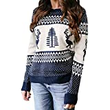 WuyiMC Clearance Sale!! Women knitting Sweater Tops Women's Patterns Reindeer Snowman Tree Snowflakes Christmas Sweater Pullover (M, Navy)