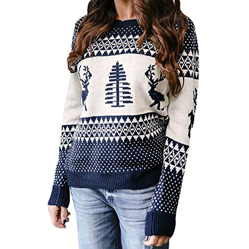 Clearance Sale!!ZEFOTIM Women Christmas Sweater Long Sleeve O-Neck Christmas Tree Knitting Sweater Tops(Large,Navy) ()