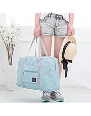 حقيبة أكسو، قابلة للطي للسفر مصنوعة من النايلون الخفيف المقاوم للماء، قابلة للطي، حقيبة محمولة على الكتف، باللون الأزرق