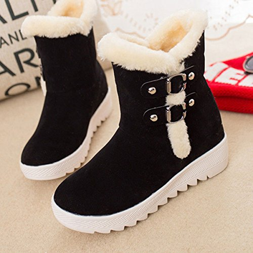 Boots Fur Non Boots Heel Suede Warm Slip Increasing Gracosy Snow Women's height Winter Low Black Lining qpHRnSEx