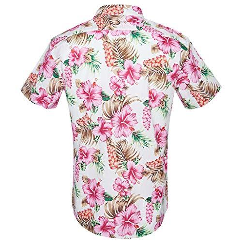 Casual Slim Manches Rose Morchan Mode Blouse Courtes Tops Chemises Imprimée Hommes RRIq6