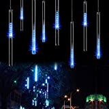 Ahyuan Easter Upgraded 30cm 8 Tubes 144 LED Meteor Shower Rain Lights, Drop/Icicle Snow Falling Raindrop Cascading lights fo party Christmas (US plug - IP44 Waterproof) (Blue)