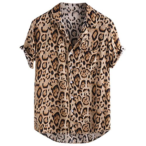 JJLIKER Men's Hipster Short Sleeve Shirts Leopard Print Button Down Casual Tees Shirts Beach Hawaiian Shirt with Pockets -