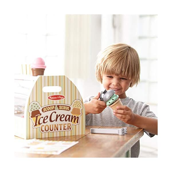 Melissa Doug Wooden Scoop And Serve Ice Cream Counter 28 Pcs Play Food And Accessories