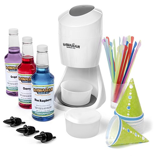 Shaved Ice Machine and Syrup Party Package by Hawaiian Shaved Ice | Includes S900 Shaved Ice Machine, 3 Ready-To-Use Pints of Syrup, 25 Snow Cone Cups, 25 Spoon Straws, & 3 Black Bottle Pourers
