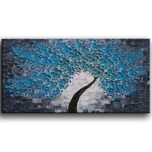 YaSheng Art -3D Oil Paintings Blue Flowers Oil Painting on Canvas Texture Abstract Art Pictures Canvas Wall Art Paintings Modern Home Decor Abstract Paintings Ready to Hang 24x48inch