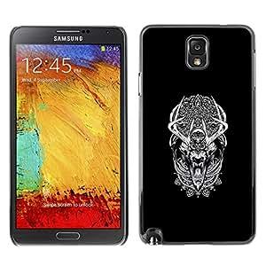 Caucho caso de Shell duro de la cubierta de accesorios de protección BY RAYDREAMMM - Samsung Note 3 N9000 - Modelo tribal Sueño del lobo del hombre lobo