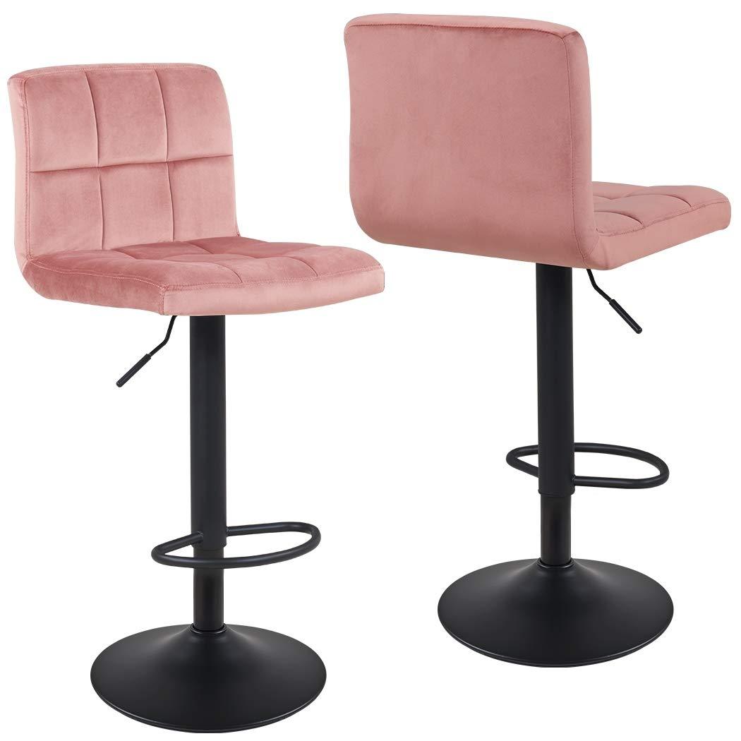 Duhome 2X Sgabelli da Bar Rosa Velluto Regolabile in Altezza Girevole Quadrato con Schienale Selezione Colore 451Y