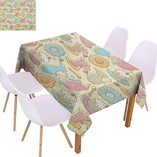 Waterproof Tablecloth Tea Party Old Fashioned Hand Drawing Style Creamy Cupcakes Mugs Coffee Drinks Cute Hearts Party W52 xL70 Multicolor