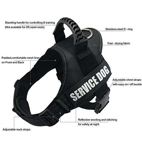 Fairwin Service Vest Dog Harness - Adjustable Nylon Removable Reflective Patches for Service Dogs Large Medium Small Sizes(M Size)