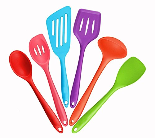 Silicone kitchen utensils set of 6 heat-resistant cooking utensils, silicone non-stick and scratch-resistant protective device set without BPA for home baking, cooking, mixing, ingredients