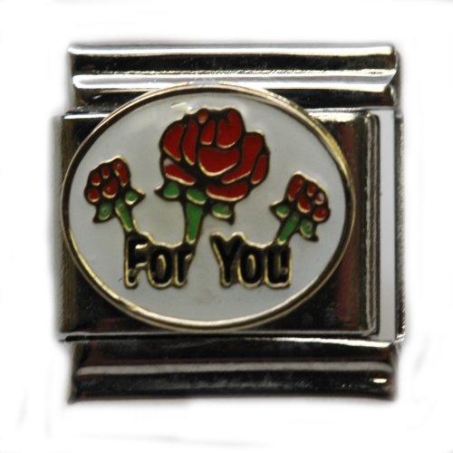 Red Rose Italian Charm Bracelet - Red Roses