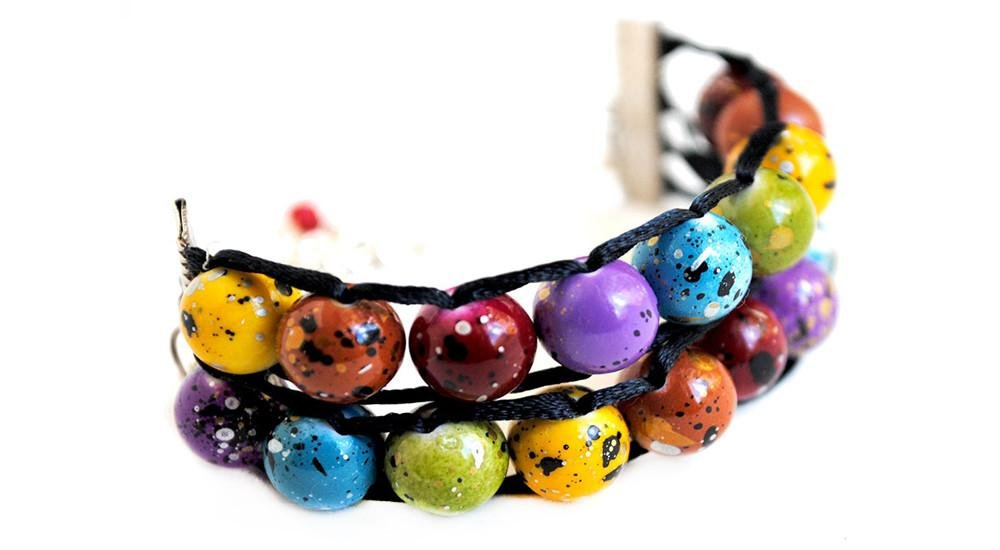 Ablet Knitting Abacus Row Counter Bracelet, Painted Rainbow, 2-Tier - Count Your Rows In Style!