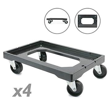 PrimeMatik - Plataforma con Ruedas para Transporte de Cajas eurobox 60 x 40 cm 4-Pack: Amazon.es: Electrónica