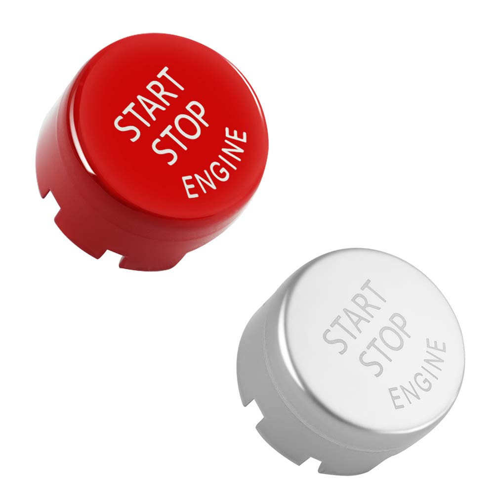 Gloss Red + Gloss Silver Maxiou Start Stop Engine Switch Power Ignition Button Replacement for 1 2 3 4 5 6 7 Series X1 X3 X4 X5 X6 2010-2016