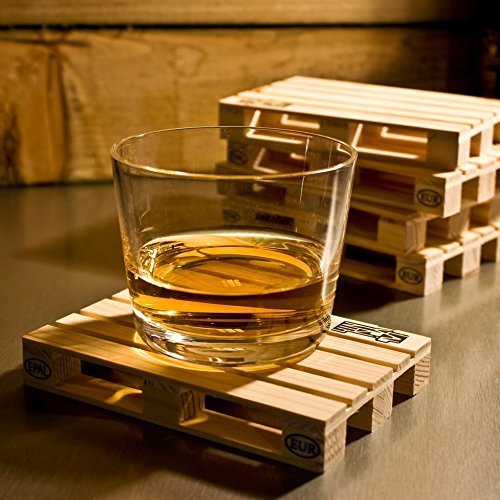Design Studio Labyrinth Barcelona Mini Euro Pallet - 8 Miniature Pallet Wood Beverage Drink Coasters. Suitable For Bar, Home and Office.