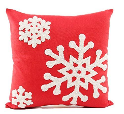 Howarmer 18x18 Christmas Decoration Red Throw Pillow Cover Embroidered Throw Pillows for Teen Christmas Snow