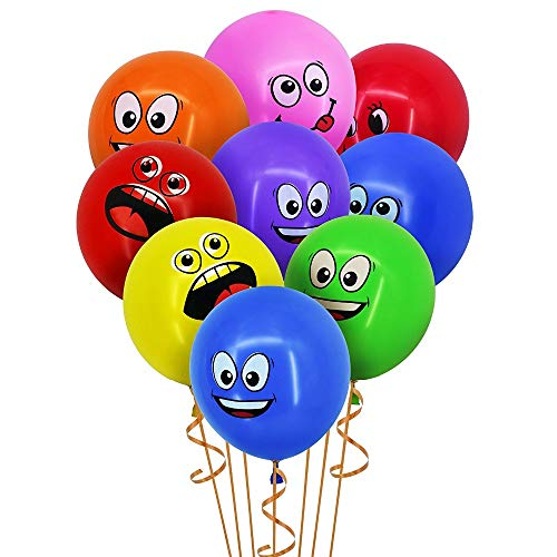 Lannmart Cute Printed Big Eyes Smiley Latex Balloons Happy Birthday Party Decoration Inflatable Air Ballons Balls for Kids Gift
