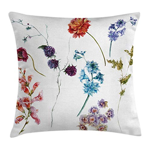 """Ambesonne Flower Throw Pillow Cushion Cover, Watercolor Style Wildflowers Leaves Daisies Lavenders with Spring Branches Garden, Decorative Square Accent Pillow Case, 16"""" X 16"""", Orange Magenta"""