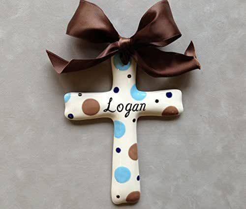 Baptism Ornament Personalized Christmas Ornament Christening: Amazon.com: Hand Painted Personalized Cross Ornament