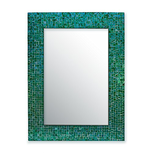 DecorShore - green mosaic wall mirror - Glass Mosaic Mirror