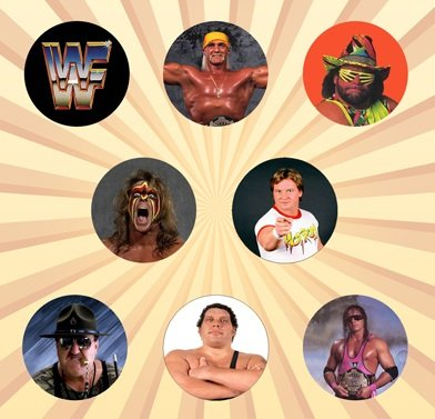 [WWE Classic Set of 8 - 1 Inch Pinback Buttons] (Wwe Bret Hart Costume)