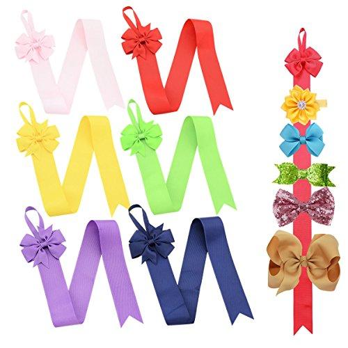 Globalsupplier 6pcs Grosgrain Bow Tie Hair Clip Holder Organizer Storage